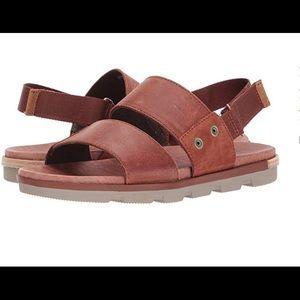 SOREL Sz 9.5 Flat Leather Sandals Torpeda